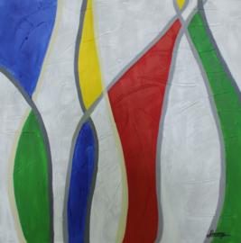 100 x 100 cm - Olieverfschilderij - Abstract Kleurrijk