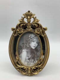 Fotolijst - antiek - rijk versierde barok lijst - kunsthars goud ovaal - binnenmaat 10x15 cm