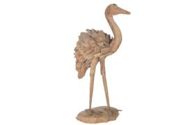 Houten kunst - Beeld - sculptuur - houten kraanvogel - drijfhout naturel