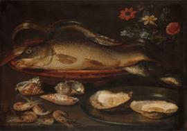 120 x 80 cm - Plexiglas klassiek schilderij - Stilleven vis, oesters en garnalen - oude meesters!
