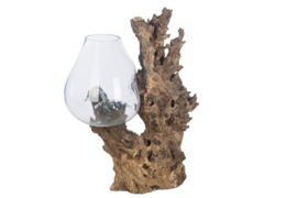 Glazen vaas op boomstronk XL - naturel