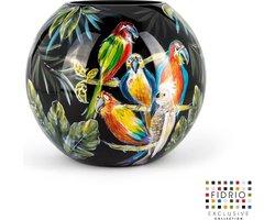 Design vaas bolvase - Fidrio PARROTS - HANDPAINTED - glas, mondgeblazen bloemenvaas - diameter 25 cm