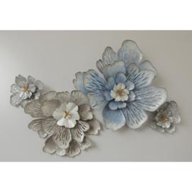 Metalen wanddecoratie - bloemen