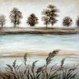 100 x 100 cm - Olieverfschilderij - Rivier - natuur handgeschilderd