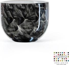 Design kaarshouder Candleholder - Fidrio NERO - glas, mondgeblazen - diameter 9 cm hoogte 7 cm --