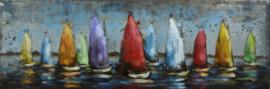 3D Schilderij Metaal - Kleurrijke Zeilboten klein- regatta - metaalschilderij - 90x30 cm