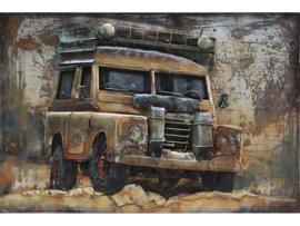 3D Schilderij Metaal - Landrover Bruin - oldtimer - 120x80 cm