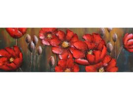 150 x 50 cm - 3D art Schilderij Metaal - Rode Bloemen - handgeschilderd