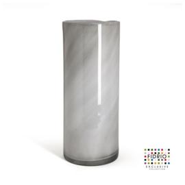 Design vaas Fidrio - glas kunst sculptuur - cilinder - Grey/opal - mondgeblazen - 40 cm hoog