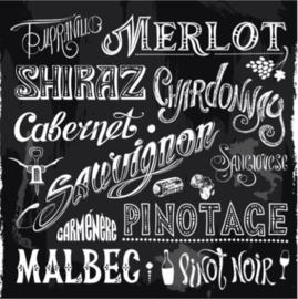 Plexiglas Schilderij - Tekstbord Wijnen