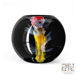 Design vaas Fidrio - glas kunst sculptuur - Bolvase Nova - handgeschilderd - 25 cm diep