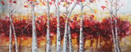 150 x 60 cm - Olieverfschilderij - Abstract bos rood - handgeschilderd
