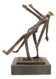 Bronzen beeldje - sculptuur - abstract - samen een stap vooruit - Martinique