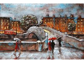 120 x 80 - 3D art Schilderij Metaal - Brug Stad - stadsgezicht handgeschilderd