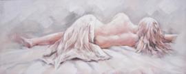 150 x 60 cm - Olieverfschilderij - Vrouw Verleiding