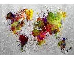 160 x 110 cm - Glasschilderij - Wereldkaart kleurrijk - schilderij fotokunst - foto print op glas
