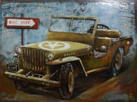 80 x 60 cm - 3D art Schilderij oldtimer Metaal Jeep Willy - metaalschilderij - handgeschilderd