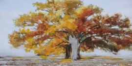 150 x 60 cm - Olieverfschilderij - Boom Herfst - natuur handgeschilderd