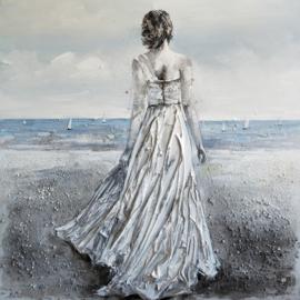 Olieverfschilderij - Vrouw Jurk Strand - 150x60 cm