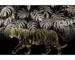 120 x 80 cm - Glasschilderij - tijger goud - bladeren - schilderij fotokunst - foto print op glas