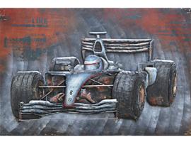 120 x 80 cm - 3D art Schilderij Metaal - formule 1 - handgeschilderd