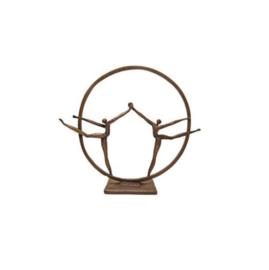 Bronzen beeldje - sculptuur - figuur - de vriendschap gepatineerd
