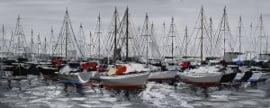 Olieverfschilderij - Haven met boten - 60x150 cm --