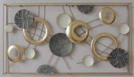 90 x 50 cm - wanddecoratie schilderij metaal - Frame Art - Abstract - cirkels
