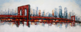 150 x 60 cm - Olieverfschilderij - stad / brug - stadsgezicht skyline - handgeschilderd