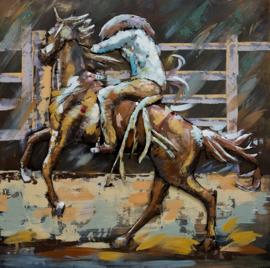 100 x 100 cm - 3D art Schilderij Metaal Rodeo rijden - metaalschilderij - handgeschilderd