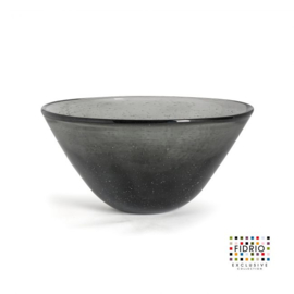 Design vaas Fidrio - glas kunst sculptuur - bowl - Smokey - mondgeblazen - 20  cm hoog