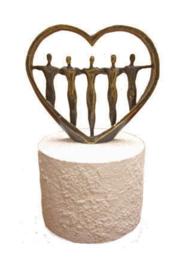 Urn brons - bronzen beeldje - sculptuur - voor altijd in ons hart - 15 cm hoog - Martinique