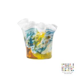 Design vaas Fidrio - glas kunst sculptuur - Wave colori - mondgeblazen - 15 cm hoog --