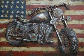 60x40 cm - 3D art Schilderij Metaal Motorfiets Amerika - handgeschilderd