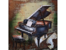100 x 100 cm - 3D art Schilderij Metaal - Vleugel Piano - handgeschilderd