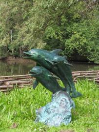 Tuinbeeld - groot bronzen beeld - 3 dolfijnen fontein - Bronzartes