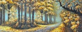 150 x 60 cm - Olieverfschilderij - Bos Landschap - natuur handgeschilderd