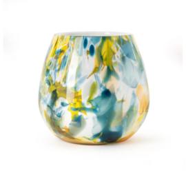 Design vaas Fidrio - glas kunst sculptuur - Fiore - colori - mondgeblazen - 22 cm hoog --