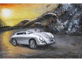 120 x 80 cm - 3D art Schilderij Metaal - klassieke auto Porsche 356 - handgeschilderd