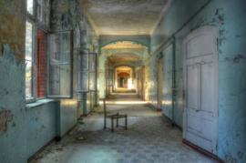 160 x 110 - Glasschilderij - schilderij - verlaten gebouw - foto print op glas