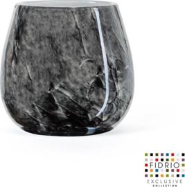 Design vaas Fiore - Fidrio NERO zwart - Bloemenvaas glas, mondgeblazen - hoogte 12 cm --