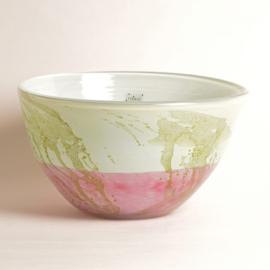 Design vaas Fidrio - glas kunst sculptuur - bowl jewel - Mistique pink - mondgeblazen - 17 cm hoog