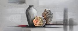 150 x 60 cm - Olieverfschilderij - Vazen Grijs