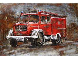 120 x 80 cm - 3D art Schilderij Metaal - Klassieke brandweer vrachtwagen - oldtimer - handgeschilderd