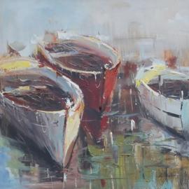 80 x 80 cm - Olieverfschilderij - Drie roeiboten - handgeschilderd