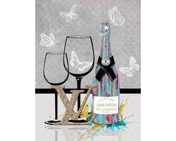60 x 80 cm - Champagne van Louis Vuitton - Glasschilderij met goudfolie - Brands & Fashion