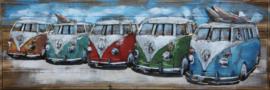 150 x 50 cm - 3D art Schilderij Metaal en hout - Volkswagen busjes op hout - handgeschilderd