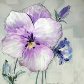 100 x 100 cm - Olieverfschilderij - Paarse bloemen - natuur handgeschilderd