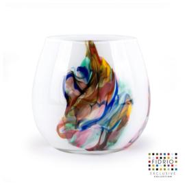 Design vaas Fidrio - glas kunst sculptuur - fiore - Dance - mondgeblazen - 22 cm hoog --