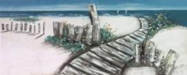 Olieverfschilderij - Strandpad - 60x150 cm
